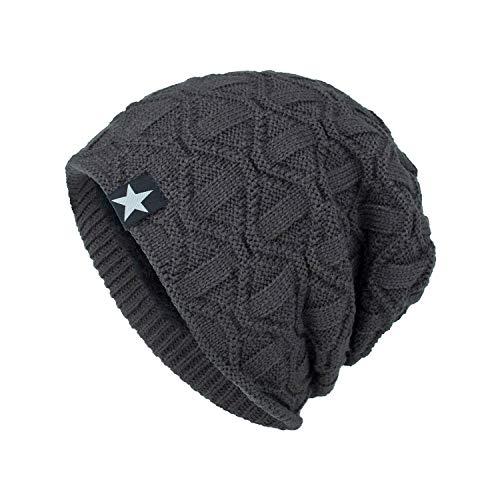 Longra Unisex beanie-hoed met sterrenmotief, gebreide muts, wintermuts, verwarmde muts, gebreide muts, sjaal, fleece voering