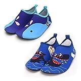 Vingi Kids Water Shoes Toddler Non-Slip Beach Barefoot Aqua Socks Lightweight Quick Dry Swim Shoes for Boys & Girls, 2 Pack