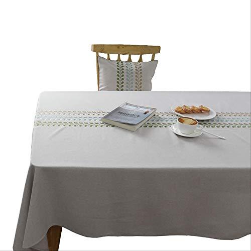DQGZYF Mantel Rectangular de algodón y Lino Bordado Mantel artístico Impermeable decoración del Restaurante del hogar 90 * 140 cm