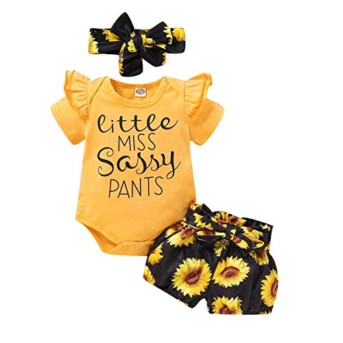Baby Girl Coming Home Outfit Newborn Infant Toddler Kids Little Miss Sassy Pants Yellow Short Sleeve Romper Bodysuit Sunflower Bloomers Shorts Pants with Bow Headband 3pcs Clothes Set 3-6 Months