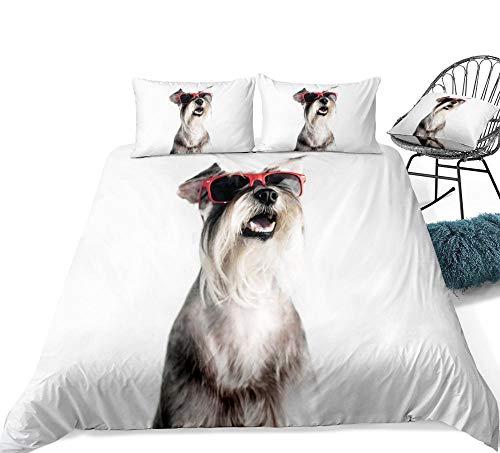 Ropa de Cama 3D Schnauzer Niños Niños Niñas Schnauzer Perro en Rojo Gafas de Sol Juego de Funda nórdica Funda de edredón Blanco Single