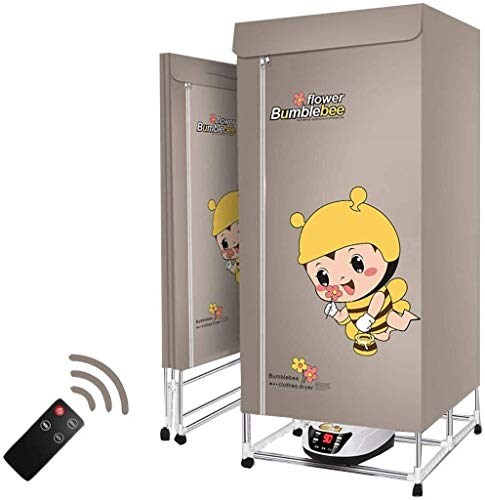 YUIOLIL Dryer Portable Clothes Dryer Electric Drying Rack,Clothing Dryers Heater,2 Tier Foldable Warm Air Wardrobe,360° Convection Heating Intelligent Timing Liquid Display Control Panel