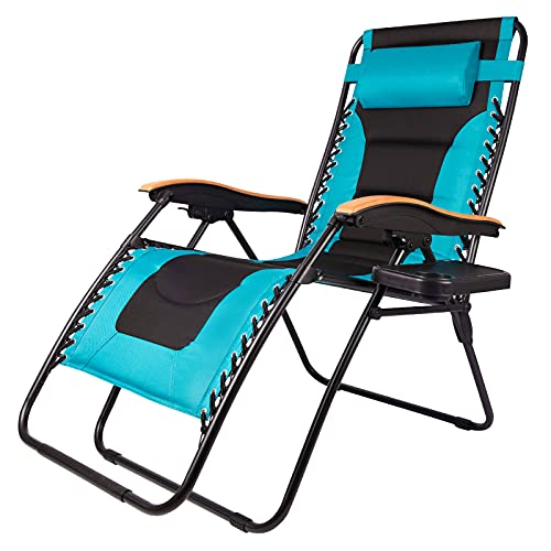 Zero Gravity Patio Chair Outdoor Reclining Lounge Chair Padded Seat with Adjustable Pillow and Side Table (Blue)