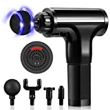 2020 Upgraded Version Massage Gun-Deep Tissue Percussion Electric Muscle Massager,Portable Handheld Ultra-Quiet Brushless Motor, Relieves Muscle Tension, Including 4 Massage Heads & 6 Speeds (Black)
