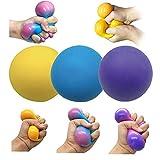 Stress Balls for Adults and Kids - 3pk Squishy Stress Ball Fidget Toys, Anti Stress Sensory Ball Squeeze Toys(((Yellow, Purple, Blue)