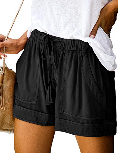 Doublju Women's Loose Fit Comfortable Casual Shorts with Elastic Waist Band and Strap Black S
