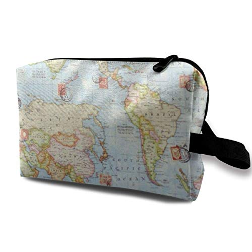 Hdadwy Makeup Bag Travel Cosmetic Bag Portable Toiletry Pouch for Women Girls, Atlas World Map Blue Travel