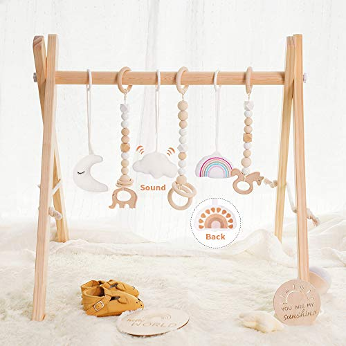 little dove Wooden Baby Gym with 6 Baby Teething Toys Foldable Play Gym Frame Activity Gym Hanging...