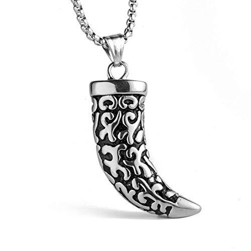 Collar de acero de titanio para hombre Vintage plata antigua