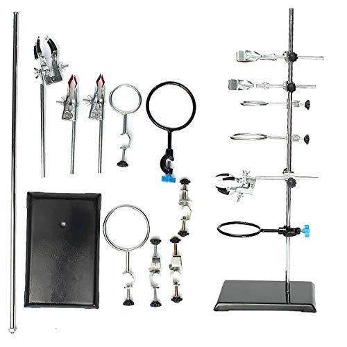 OUBAYLEW Laborständer Laborstativ Unterstützung Labor Clamp Flaschenhalter Kondensatorständer Clip Set 135 * 210 * 600mm