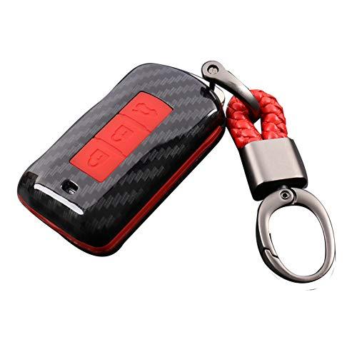 Happyit Carcasa de Fibra de Carbono + Silicona Cubierta de la Caja de la Llave del Coche Llavero para Mitsubishi Outlander Lancer 10 EX Pajero Sport ASX RVR L200 3 Botones (Rojo)