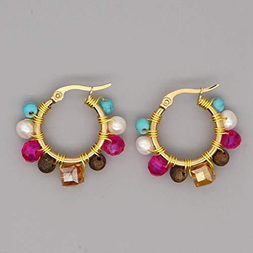 N\\C Mode Damen Schmuck Retro Farbe Perlen Tandem Creolen Imitation Pearl Ohrstecker