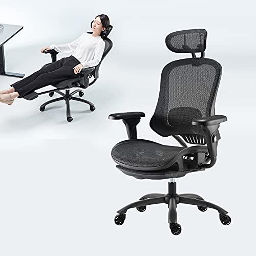 YEATION オフィスチェア 人間工学 デスクチェア 社長椅子 ゲーミングチェア メッシュ 135度リクライニングチェア 調節可能なヘッドレスト/背もたれ/4Dフリップアップアーム付き ハイバック 首痛 腰痛サポート 事務用 勉強用 テレワーク用 法人割引あり