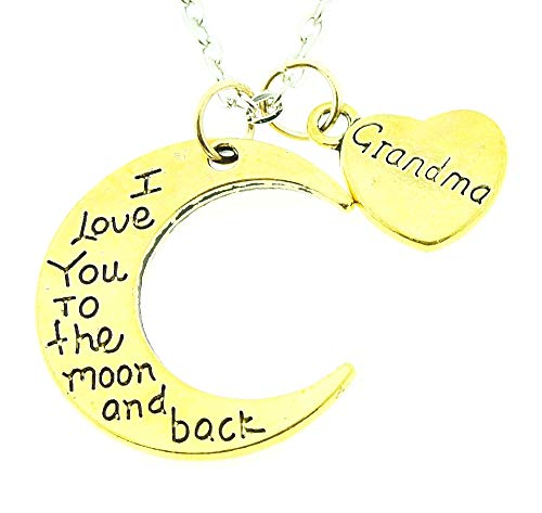 Vrouwelijke ketting - vrouw - hartje - hart - ik hou van je van de maan en terug - maan - iyou - oma - kerstmis - goud - origineel cadeau idee i love you to the moon and back grandma