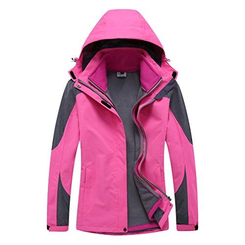 emansmoer Femme 3 en 1 Imperméable Respirant Manteau Outdoor Sport Veste de Camping randonnée avec Veste Polaire (Medium, Rose Rouge)