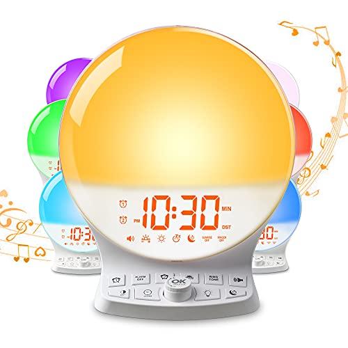 Wake Up Light Sunrise Alarm Clock for Heavy Sleepers Adults, Light Alarm Clock with Sunrise Simulation, Sleep Aid, 3 Alarm Modes, 7 Color Night Lights, Dual Alarms & USB Charging Port for Bedroo Kids