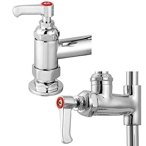 ReaseJoy 7″ Commercial Kitchen Sink Twin Pedestal Pre Rinse Tap Unit Pullout Spray with Add-On Faucet Chrome