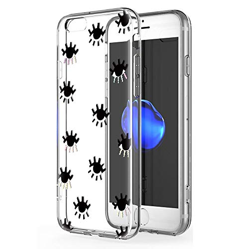 Zhuofan Plus Funda iPhone 6, Silicona Suave Clara Transparent TPU Gel con Diseño Print Pattern Anti-rasguños Shockproof Protactivo Cover para iPhone 6, Los Ojos