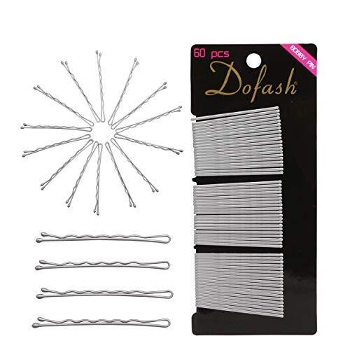 Dofash 60 Stück Silber Metall Wellenform Haarklammern (2Inch/5CM) Haarnadeln,Klassische Bobby Pins für Mädchen Haarzusätze (Silber)