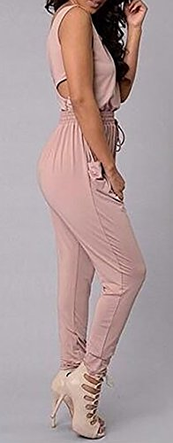 Baifern Women's Sleeveless Blouson Hollow Back Ruched Jumpsuits