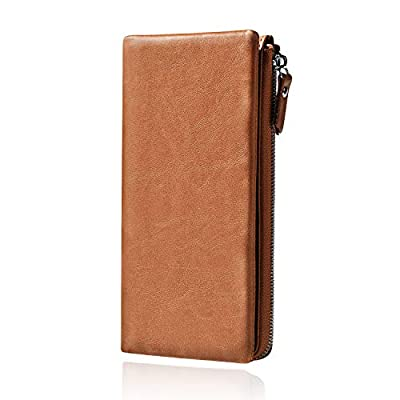 Yonake Wallets for Men Long Genuine Leather Vintage Bifold Credit Cards Executive Secretary Wallet with Zipper Money Clip (Brown)