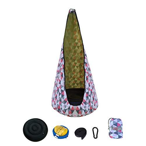 josietomy Hamaca para niños, cueva colgante con accesorios, saco colgante con cojín inflable, asiento columpio para habitación infantil, 70 x 140 cm