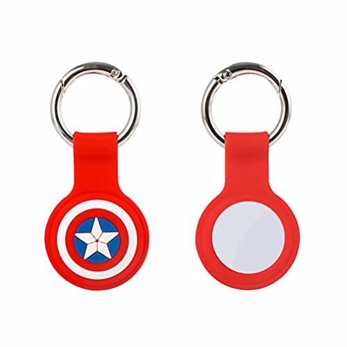 Cute Cartoon Case for Airtags Anti-Scratch Tracker Silicone Key Ring Carry Case with Keychain Case for GPS Tracker Cover for Wallet Car Pet Cat Dog iPhone AirPods iPad(DP-Red)
