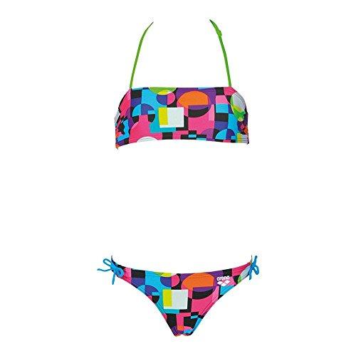 arena Mädchen Bandeau Bikini Marble (Schnelltrocknend, UV-Schutz UPF 50+, Chlor-/Salzwasserbeständig), Black-Leaf (506), 128