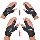 Mylivell LED Flashlight Glove Outdoor Fishing Gloves with Stretchy Strap Screwdriver for Repairing Cars Night Running Fishing Camping Hiking in Dark Place (2 Pairs)