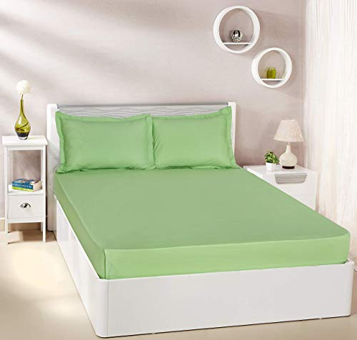 Amazon Brand - Solimo Solid 144 TC 100% Cotton Double Bedsheet with 2 Pillow Covers, Apple Green
