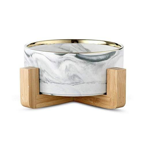 Pet Cat Bowl Hundenäpfe Anti-Rutsch-Keramik-Wassernapf für kleine Hunde Katzen (16 * 9cm, Marble Pattern Gray with Gold rimvv)