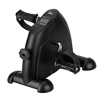 Mini Exercise Bike Under Desk Pedal Exerciser Arm and Leg Exercise Cycle Bike with LCD Screen Displays  Black