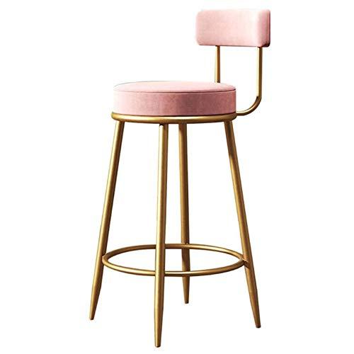 LIYIN-Barstool Moderna Taburetes, Desayuno preparación en la Cocina Home Bar heces, heces Altura del mostrador con la Espalda, Rosa, sentada Altura 65cm / 75cm,75cm(29.5 Inch)