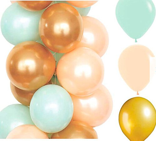 Amazon Com Sogorge 30 Count 10 Mixed Mint Green Peach Gold Latex Balloon Wedding Baby Shower Birthday Party Decoration Sg1687 Toys Games