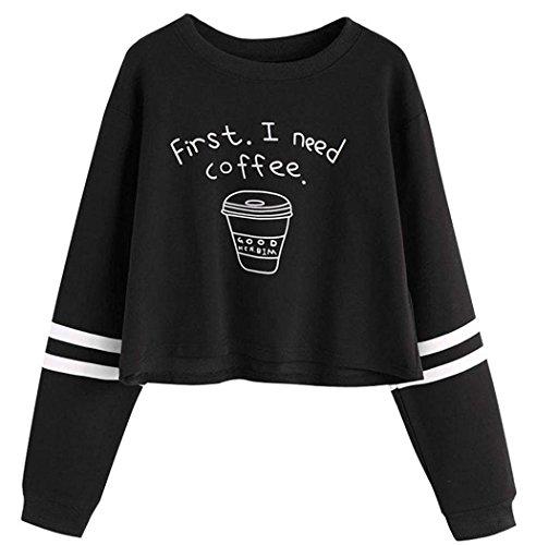 Mujeres Tops, L'ananas Mujer Manga Larga First I Need Coffee Impresión Casual Sólido Sudadera Negro Tops Blusa Sweatshirt (CN-S/EU-32, Negro)