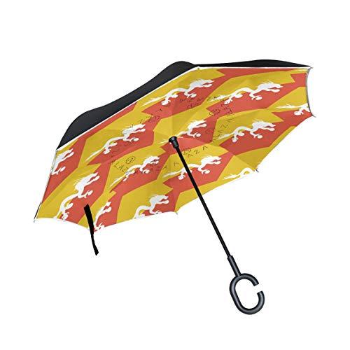 Paraguas invertido de la Bandera de Bután, Doble Capa, Resistente al Viento, Impermeable, con Apertura automática, Plegable al revés, con Mango en Forma de C
