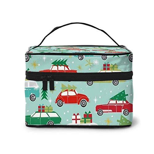 JDYU Weihnachtsauto Tradition Weihnachtsbäume Feiertagsmuster Make-up-Tasche Große Kosmetiktasche Fall Make-up Fall Organizer Kultur Reisetasche für Frauen