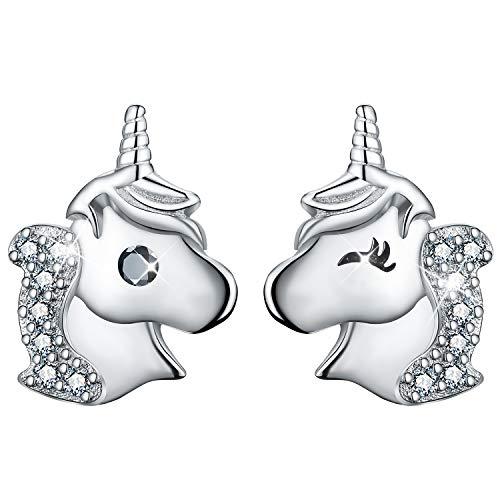 Esberry 18 Karat Vergoldung 925 Sterling Silber Ohrstecker Einhorn mit Zirkonia Asymmetrie Ohrringe Hypoallergene Ohrringe für Mädchen und Frauen (White)