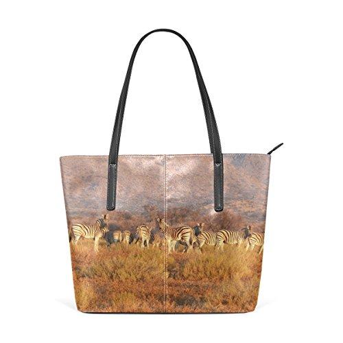 Eslifey Zebra Herd On The Grassland PU-Leder Schulter Tasche Tasche für Damen Mädchen Damen