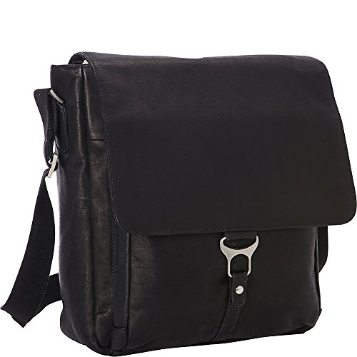 Goodhope Bags Leather Vertical Laptop Messenger (Black)