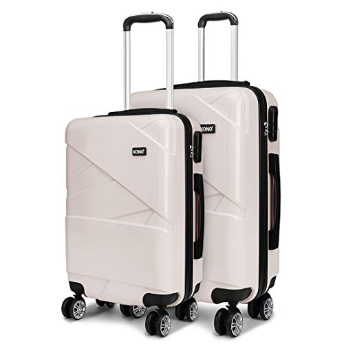 Kono 2 Piece Travel Hard Shell Suitcase Set 24''+28'' Large Capacity Hold Check in Luggage with 4 Spinner Wheel (Beige)