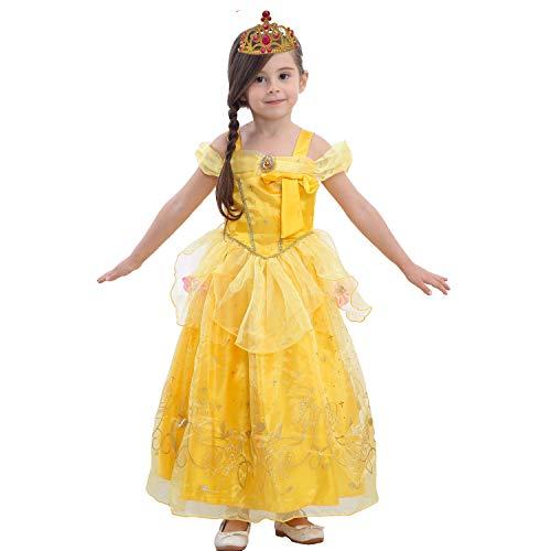 LiUiMiY Bambine Principessa Costume Gonna + Diadema Abito di Gala Ragazze Cosplay Tulle Vestito per Festivo Feste a Tema Halloween Carnevali Compleanni Giallo, 120 cm, 2-8anni