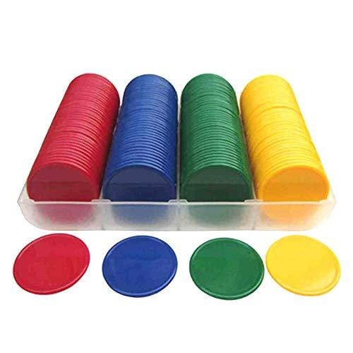 aheadad - Fichas de póquer de plástico Duro, 160 Unidades, sin fichas de Juego con Chip de denominación Digital (Amarillo + Verde + Rojo + Azul)