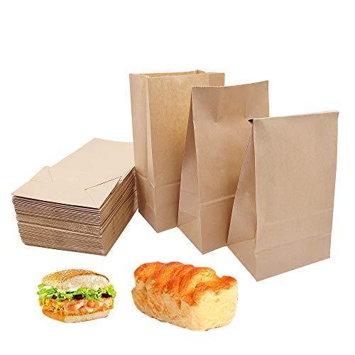 Papiertüten 100 Stück Kraftpapiertüten Braun 9 * 5.5 * 17cm Geschenktüten Für Brot Belegte Brote Keks Süßigkeiten