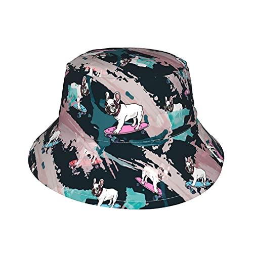 Baby Bucket Hat Skateboard French Bulldog Pattern Outdoor Sun Hat Funny Beach Hat for Girls Boys