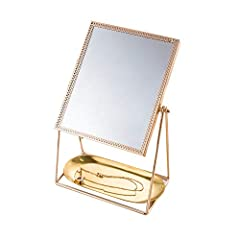 TELLW Or Nordique Stockage m¨¦tal Plateau cosm¨¦Tique Bijoux Dressing Commode Pendentif Bougie Support