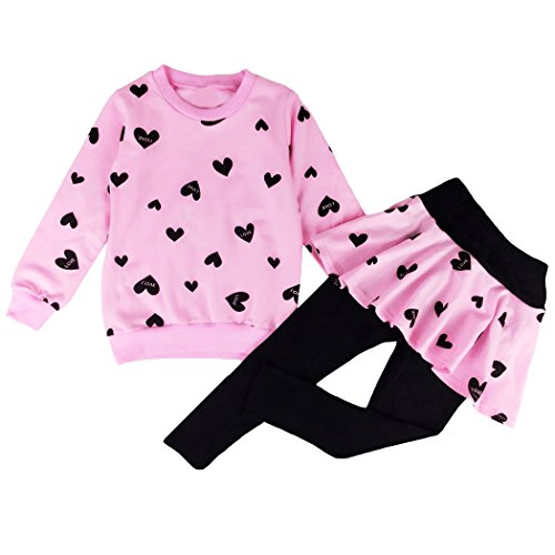DDSOL Little Girls Clothes Heart Print Tops Ruffle Skirt with Legging Outfits Toddler Playwear Set for Size 7 8