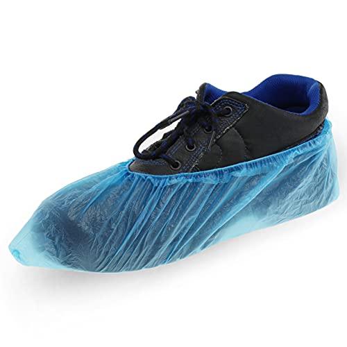 100x copriscarpe Copriscarpe Copriscarpe in pellicola di polietilene blu adatto fino alla misura di scarpe 47 con elastico stabile
