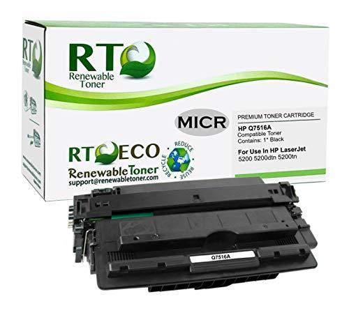 Renewable Toner Compatible MICR Toner Cartridge Replacement for HP 16A Q7516A Laserjet 5200 Printers