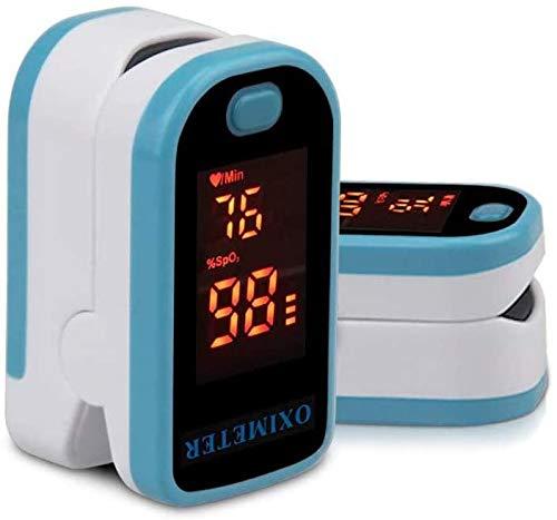 Oxímetro de pulso de dedo, OOCOME Monitor de oxígeno de dedo Monitor LED Digital Portátil Oxígeno de sangre con cordón azul